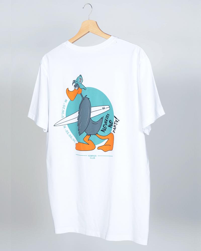 Camiseta de manga corta blanca modelo Mr Humpier Duck, por detrás